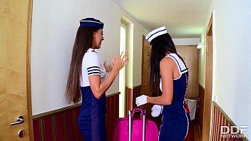 Flight Attendants Lorena and Alexa Tomas INCREDIBLE Lesbian Video