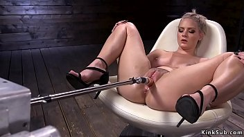 Hot ass solo blonde beauty Lisey Sweet masturbates in chair then in wet pussy shoves fucking machine and in the end rides Sybian in dark dungeon
