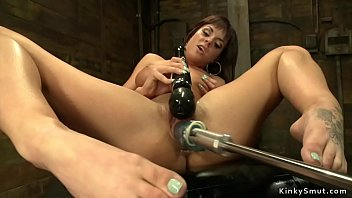 Watch Busty stunning brunette babe fucks machine and vibrates clit with black Magic Wand preview