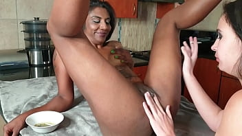 Two interracial whores having a sexy intimate lesbian make out session while smoking | pussy eating