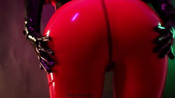 MILF fetish model Arya Grander in latex rubber catsuit fetish teasing free porn video