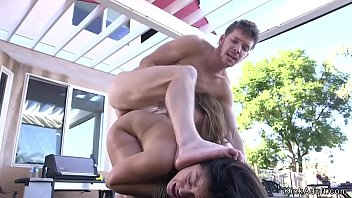 Big cock bf anal fucks his sexy brunette girlfriend and hairy pussy bff in threesome
