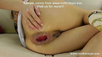 Hotkinkyjo sefl anal fisting, gigantic ruined anal hole and prolapse