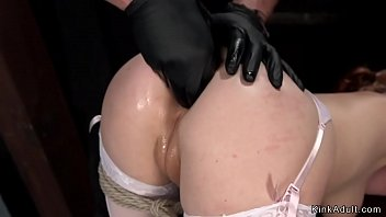Hot natural redhead anal finger fucked in dungeon by her master