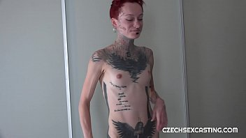Tattooed girl fucked at porn casting