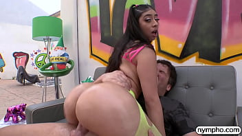 Big booty brunette beauty gets pounded and filled up with jizz