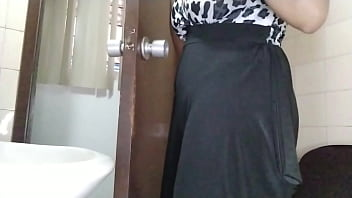 Husband waits outside without knowing I am squirting my pussy and orgasm in toilet