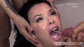 Premium Bukkake - Veronica Avluv swallows 61 huge mouthful cumshots