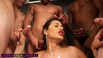 Brazilian shemale blonde ass fucked in a gangbang with a bunch of guys