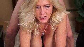 Cougar (Granny) Smokes and Sucks Cock-Fucked w/Facial