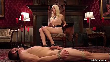 Big tits blonde domina Lorelei Lee in acrylic high heels torments gagged and tied man slave Zane Anders on the rug then wears strap on and rides his face