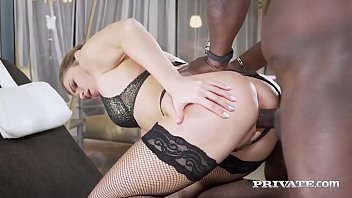 Stunning Sexy Babe, Mary Kalisy, in sheer black lingerie & stockings, spreads her throbbing thighs so she can welcome a big black cock & a mouthful of cum! Full Flick & 100's More At Private.com!