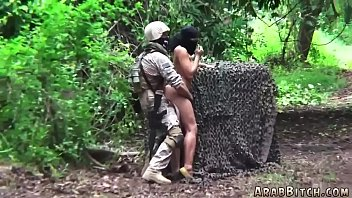 Girl in burqa catch up by army in forest and fucked hard