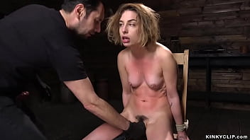 Bent forward and bound blonde slave Kristen Scott gets fucked with balls and big cock of master Tommy Pistol then trimmed twat banged in other positions