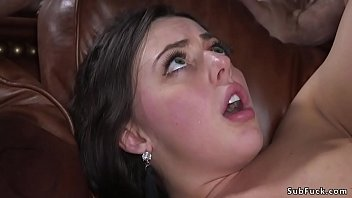 Handcuffed and chained brunette beauty Whitney Wright made to suck masters big dick then fucked