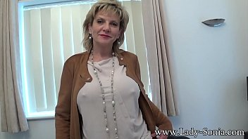 Mature blonde with big tits sucking cock at a casting call