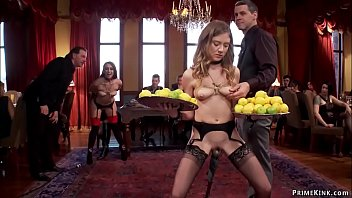 Hot brunette slave in lingerie Mandy Muse standing above vibrator and holding plates with lemons then with Kendall sharing big cock at brunch party in the upper floor