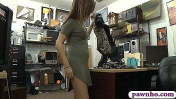 Petite amateur babe gives a nice sloppy blowjob and then gets_her shaved pussy pounded real good by nasty pawn keeper at the pawnshop Thumbnail