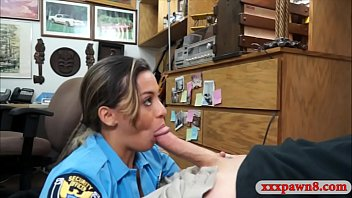 Police officer showing off her big boobs then gives head