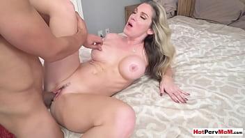 Hot blonde MILF stepmom Kayla Paige seducing and fucking her surprised stepson