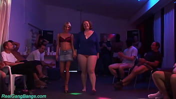 redhead german bbw enjoys with her skinny girlfriend first time a rough sexclub gangbang bukkake fuck party