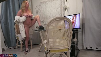 Stepson peeping on stepmom while she is masturbating gets to fuck her