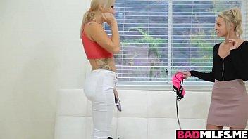 Lucky nerd guy fucked with two blonde milf Savana and teen Emma