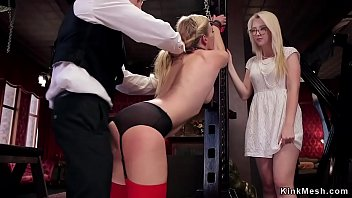 College babe involved in threesome bdsm by master and head slave in The Upper Floor