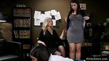 Huge tits blonde Milf boss makes two lesbian employees worship her