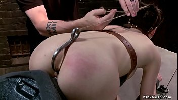 Hairy pussy shaped slave Lily LaBeau in strappado gets pussy vibrated then set on Sybian in doggy style bondage gets ass hookedby master The Pope