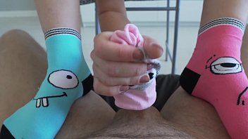 Sister does socksjob for stepbrother for the first time.  Footjob. Step fantasy
