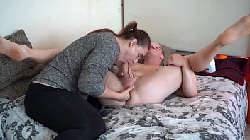 Prostate Milking Blowjob - Cum In Her Mouth Till it Leaks Out!