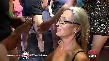 Super hot MILF with perfect big tits Emma Starr gets her first experience in Germany in the famous bukkake arena! German Goo Girls