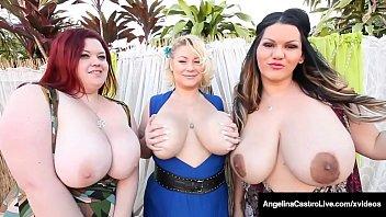 Massive Titty Trio, Angelina Castro, Samantha 38G & Trinity Guess suck, fuck & milk a big black cock in this hot curvy foursome! Full Video & Angelina Castro Live @ AngelinaCastroLive.com!
