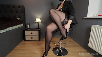 Teacher femdom handjob in stockings on sexy legs