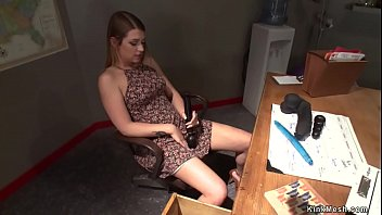 Athletic brunette babe Jenna Ashley found sex toy in drawer in coachs office and masturbated solo then fucked red dildo machine in various positions