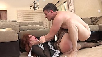 Playful dude likes when pretty busty maid Brooklyn Lee with red hair licks his toes while he's drilling her wet cunt
