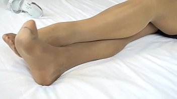 Monica wearing tan color silk hosery and pink lingerie nylon feet fetish Thumbnail