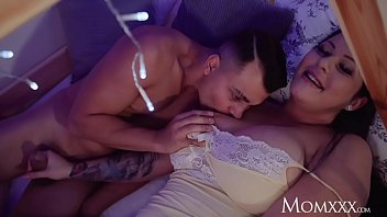 Don is horny in his bunk bed and jerking off when he hears his stepmom Anissa Jolie at the door