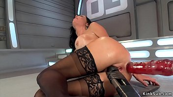Big fake tits brunette Milf Veronica Avluv with butt plug posing in lingerie then taking monster dildo machine in pussy and tight asshole