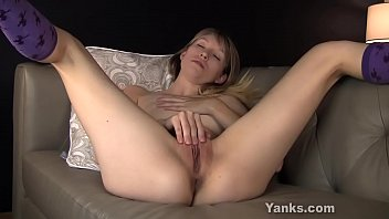 Great titted amateur blonde babe from Yanks Verronica masturbating her delicious shaved muff