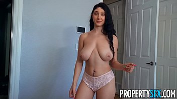 PropertySex Busty babe convinces roommate to do her a favor using her big all real tits