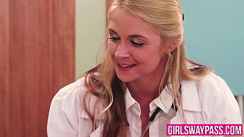 Lesbo doctor tastes her cute patient