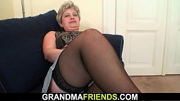 Old grandmother double penetration