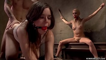 Mr Pete tricks and brings hot blonde date Adley Rose home and in basement together with his two slaves captures and fucks her in bondage group