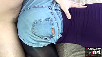 FootJob in denim shorts in tight shiny tights and stunning sex without taking off shorts- XSanyAny Thumbnail