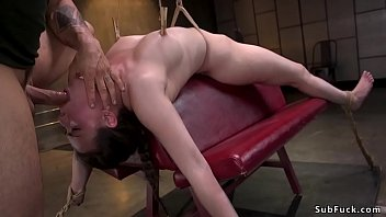 Shaved pussy brunette slave Casey Calvert with natural big tits in brutal bondage gets throat  and pussy fucked