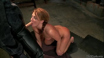 Master James Mogul vibrates and whips slave trainee Savannah Fox then makes her suck and fuck big cock to gimp Tommy Pistol and makes her squirt