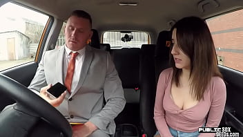 Latina beauty fucking her driving instructor in car