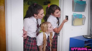 Lesbian teen schoolgirls catches and spank MILF teacher